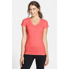 Zella 'Z 5' Tee ($32) ❤ liked on Polyvore featuring activewear, activewear tops, red blaze, zella activewear, zella, zella sportswear and neon activewear