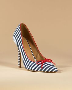 Super cute!  High-Heel Pump in Jersey Fabric with Contrast Trim - Available in Additional Colors