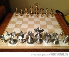 to Make a MacGyver-Style Chess Set Using Just Nuts & Bolts Here's an easy DIY project -- Use bolts and washers from the hardware aisle to make chess pieces.Here's an easy DIY project -- Use bolts and washers from the hardware aisle to make chess pieces. Handmade Christmas Gifts, Homemade Christmas, Diy Chess Set, Chess Sets, Diy Projects For Men, Bolts And Washers, Diy Gifts For Men, Homemade Gifts For Men, Unusual Gifts For Men