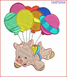 Pig Birthday Embroidery Design Digitized by mysewcuteboutique, $2.00
