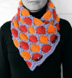 Neck warmer light blue and shades of orange by MmeDefargeYarnworks