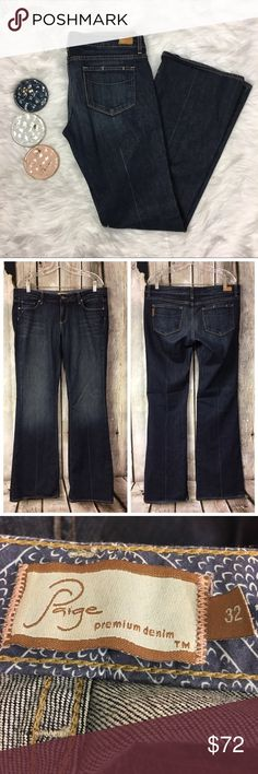 Paige Midnite Rocker Crease Laurel Canyon Jeans Paige Midnite (Midnight) Rocker Crease Jeans in laurel canyon dark wash, women's boot cut style.   Women's 32, gently used condition.   Waist across is 17.5 in, Rise is 8.5 in, Inseam is 34 in and hips across are 21 in. PAIGE Jeans Boot Cut