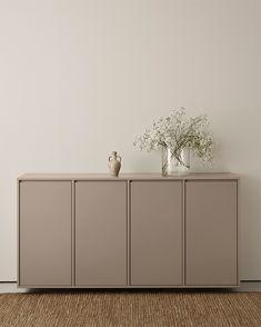 A.S.Helsingö INGARÖ Sideboard built on IKEA METOD cabinet frame. Color: Linen Brown. Home Room Design, Home Interior Design, House Design, Home Furniture, Furniture Design, Diy Home Decor, Room Decor, Minimalist Apartment, House Rooms