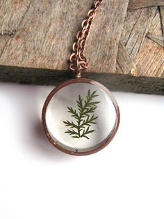 Tiny Fern Resin Pendant Necklace  Real pressed fern by ScrappinCop, $10.00