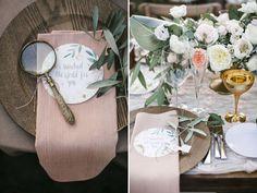 mesa posta rústica e romântica com decoração de lulas e baús.