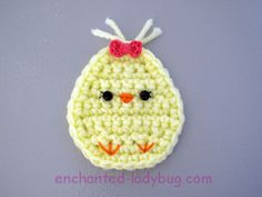 Fun for Springtime and Easter, these cute little chicks will add some springtime charm to your home. Scrap Yarn Crochet, Crochet Bunting, Cute Crochet, Crochet Flowers, Crochet Bookmark Pattern, Easter Crochet Patterns, Crochet Patterns Amigurumi, Enchanted, Crochet Projects To Sell