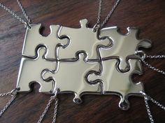Six Silver Puzzle Piece Pendant Necklaces by GorjessJewellery, £240.00