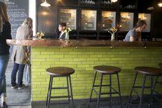 green subway tile and natural wood bar top Country Kitchen, New Kitchen, Kitchen Dining, Kitchen Wood, Kitchen Ideas, Green Kitchen, Kitchen Island, Dining Room, Green Subway Tile
