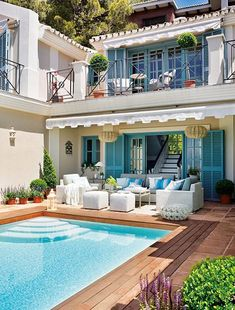 What a dream home architecture balcony Spanish style house pool patio Outdoor Rooms, Outdoor Living, Outdoor Areas, Outdoor Retreat, Outdoor Seating, Outdoor Furniture, Dream Pools, Pool Designs, My Dream Home
