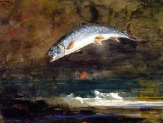 Winslow Homer, Jumping Trout. This could have been painted today in many of the rivers and streams of the Kennebec and Moose River Valleys.