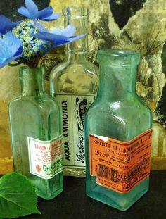 old bottles with vintage labels
