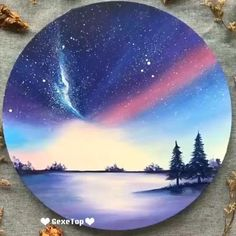 Canvas Painting Tutorials, Easy Canvas Painting, Simple Acrylic Paintings, Diy Canvas Art, Painting Videos, Painting Art, Circle Painting, Easy Nature Paintings, Acrylic Painting For Kids