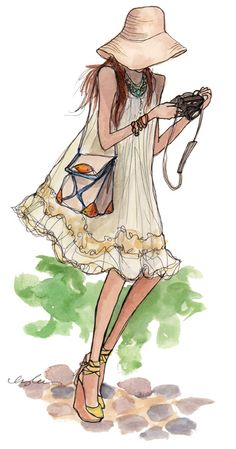 The most adorable fashion painted illustrations, i've ever seen by Inslee Haynes . A really girly and inspirational way how to turn the real...