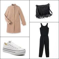Wool coat #LAREDOUTE ~~ Jumpsuit @OKEYSI ~~ Fringe bag #QUEGUAPA ~~ Chuck taylor platform Ox W @sarenza @sarenzaes
