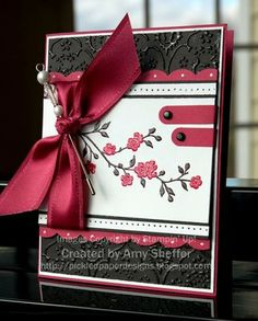 handmade card ... red, black and white ... red satin bow and adornments ... cherry blossom branch ... lovely!!