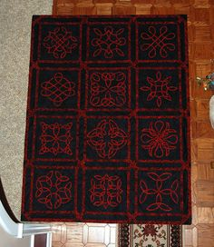 Celtic Study in Red and Black Quilting Designs, Quilt Design, Quilting Ideas, Cross Stitch Christmas Cards, Celtic Quilt, Celtic Knots, Hand Applique, Free Motion Quilting, Swirls