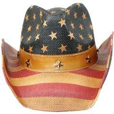 00a11ffa16c Men s Vintage Tea-Stained USA American Flag Cowboy Hat w  Western.