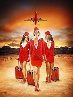 makeup and hair for advertising Budweiser Campaign Photography by Matt Barnes Lowest Airfare, Airline Uniforms, Aviation Humor, English Girls, Flight Attendant Life, Virgin Atlantic, Vintage Travel Posters, Vintage Airline, Cabin Crew