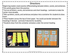 Letter, Word, & Sentence Sort: great for centers, small groups and whole class-$