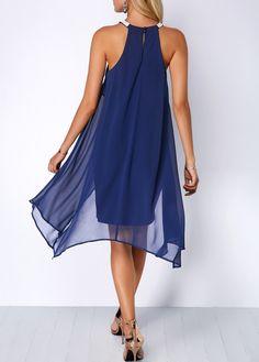 Embellished Neck Chiffon Overlay Blue Dress  374f49e61d9f