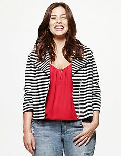 In an easy-wearing knit for anytime comfort, our striped moto jacket is the statement piece you'll love to layer! The moto silhouette is a flattering favorite for its cropped silhouette and edgy, asymmetric zipper that wears well open or closed. Finished with slash pockets. Dress it up for the office or with chinos for a pulled-together weekend look that's sure to get compliments. lanebryant.com