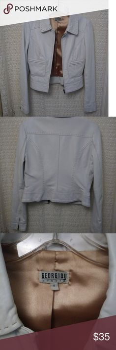 GEORGIOU STUDIO jacket Size 0, white lamb skin leather jacket w/ front pockets. Adorable Fall jacket to dress up or down with slacks, or even black leather pants! Georgiou Studio Jackets & Coats Blazers