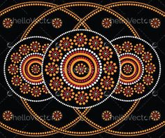 Illustration based on aboriginal style of dot painting. Aboriginal Dot Painting, Dot Art Painting, Mandala Painting, Painting Patterns, Stone Painting, Rock Painting, Mandala Dots, Mandala Pattern, Altered Canvas
