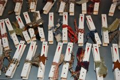 snowman clothespin magnets. could be used for gift tags (M)