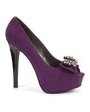 Aubergine (Purple) Kelly Brook Purple Diamante Bow Peep Toe Heels
