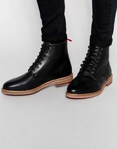 498239f82ca454 ASOS Boots in Black Scotchgrain Leather Asos Boots