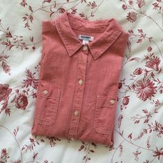 "Old Navy Red Chambray Shirt 100% cotton, very good used condition, perfect for spring! Size small but fits a little oversize. Flat measurement across armpits: 19"". Old Navy Tops Button Down Shirts"