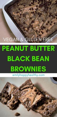 Vegan & Gluten free Peanut Butter Black Bean Brownies are easy to make & are super fudgey.