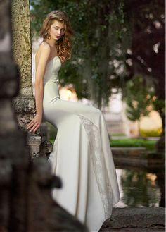 Elegant Stretch Satin & Lace Strapless Neckline Mermaid Wedding Dress