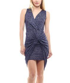 Loving this Navy Twist-Front Hi-Low Dress on #zulily! #zulilyfinds
