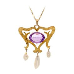 A yellow gold - amethyst, and three pearl drop pendant, (American, c.1895). ~ {cwl} ~ (Image: Incollect)