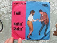 "BILLY FURY I WILL NOTHIN' SHAKIN' German 7"" record single vinyl decca ps DL25138"