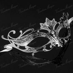 Silver Majestic Laser Cut Metal Venetian Masquerade Mask - Swarovski Crystal Inspired Gems