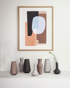 This Abstraction graphic makes a great combination with the Sculpt vases by ferm Living Vase Design, Deco Design, Interior Styling, Interior Design, Interior Office, Family Room Design, Art Abstrait, Art Decor, Home Decor