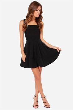 Pretty Black Dress - Skater Dress - LBD - $42.00