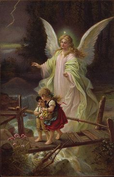 guardian angel with children on bridge_ storm_ antique postcard German