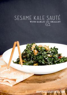 Sesame Kale Sauté with Garlic and Shallot // Quick and Easy Side