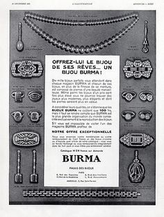Your place to buy and sell all things handmade Burma jewelry vintage poster, art deco jewelry original magazine ad, 1931 vintage advertisement, bracelets necklaces vintage jewelry poster Jewelry Ads, Jewelry Model, Art Deco Jewelry, Jewelry Branding, Etsy Jewelry, Fashion Jewelry, Art Deco Posters, Vintage Posters, Vintage Photos