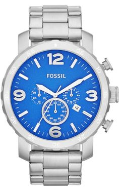 #Fossil #Watch , Nate Chronograph Stainless Steel Watch JR1445