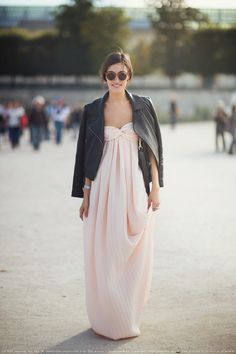 Adore this rose colored sweetheart neckline maxi with the leather motorcycle jacket