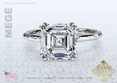 Asscher Cut Diamond Solitaire Engagement Ring by Leon Megé