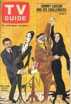 TV Guide, October 1964 — John Astin & Carolyn Jones in The Addams Family-Great show! Addams Family Tv Show, Adams Family, John Astin, Gomez And Morticia, Charles Addams, Tv Movie, Carolyn Jones, Johnny Carson, Vintage Tv