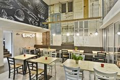 THE SHOP Souvlaki etc. | M.O.B Interior Design Studio Restaurant Booth Seating, Restaurant Bar, Restaurant Interior Design, Interior Design Studio, Nicosia Cyprus, Urban Concept, Interior Architects, Open Kitchen, Reno Ideas