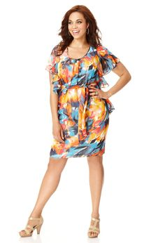 Plus Size Belted Color Burst Dress | Plus Size View All Dresses & Skirts | Avenue