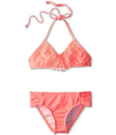 Girls Hurley Kids Prism Crop Top Tab Side Bottom 2pc bikini swim 14 coral #Hurley #BikiniTop