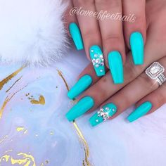 Blue Coffin Nails With Rhinestones ❤ 35+ Magnificent Coffin Nails Designs You Must Try ❤ See more ideas on our blog!! #naildesignsjournal #nails #nailart #naildesigns #nailshapes #coffinnails #balerinanails #coffinnailshapes